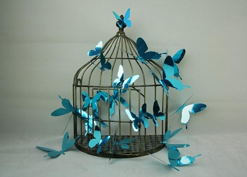 Muursticker losse 3d vlinders (blauw  glans)