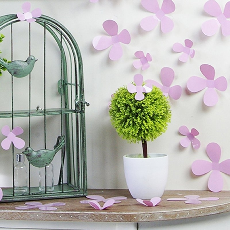 Muursticker losse 3d bloemen (roze)
