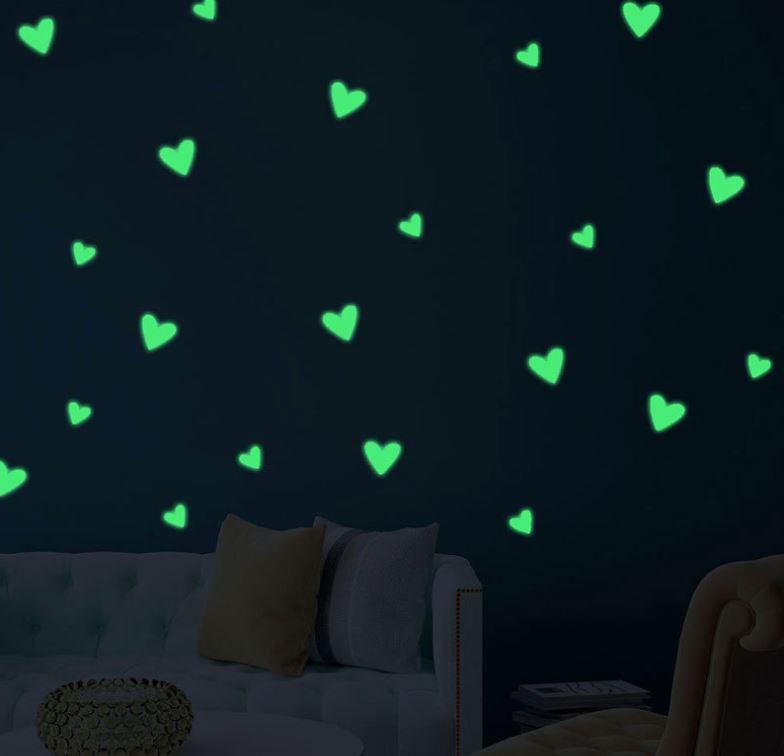 Glow in the hartjes babykamer - kinderkamer muursticker 25 stuks