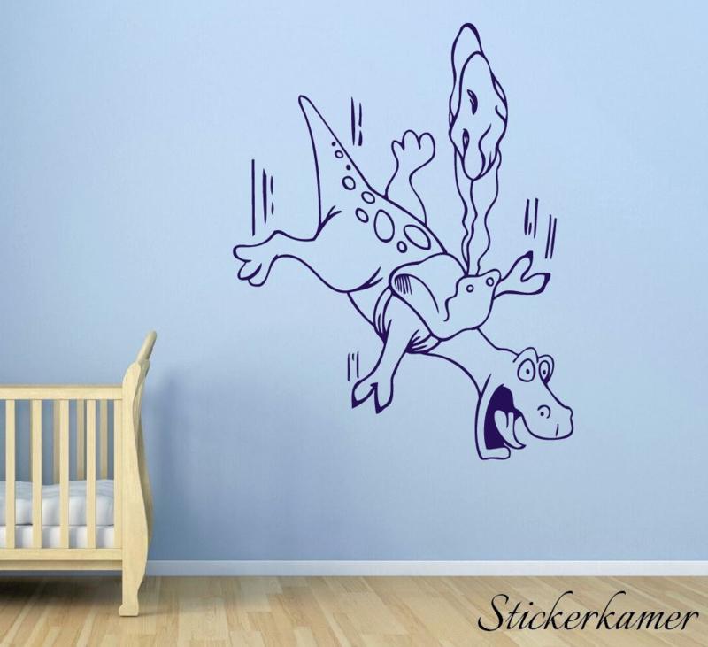 Muursticker vallende dinosaurus met parachute(7)