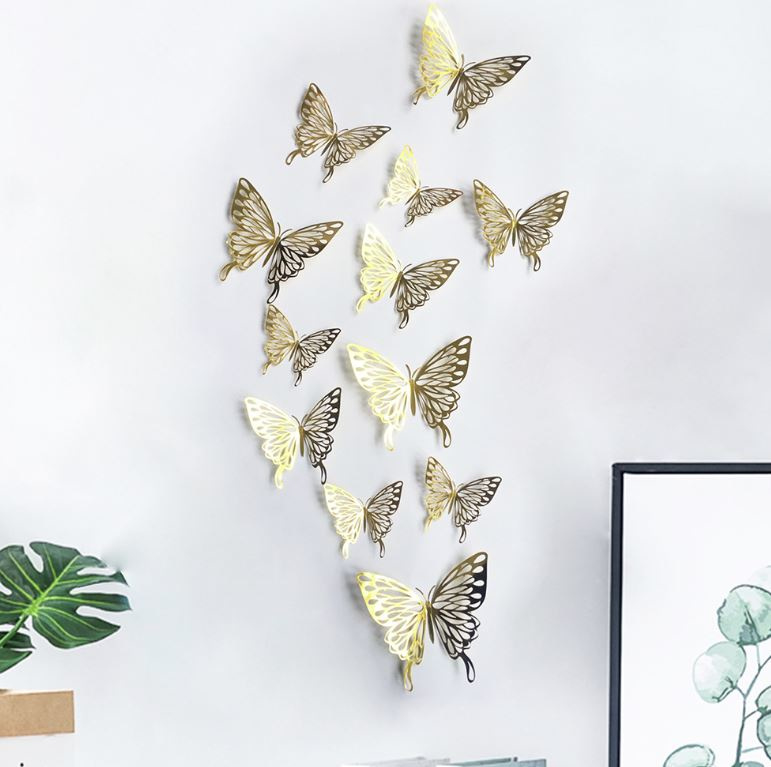 12 stuks gouden 3d vlinders muurdecoratie (5)