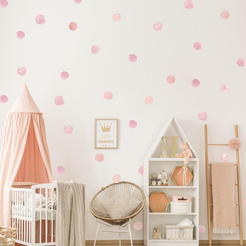 Muursticker roze stippen / cirkels aquarel kinderkamer 36 stuks