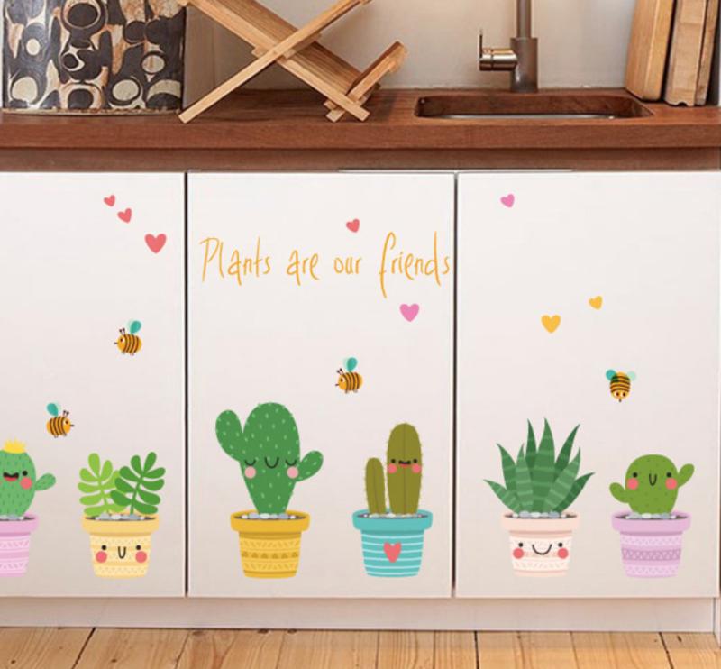 Muursticker happy cactus plant  groen met gezichtjes babykamer - kinderkamer