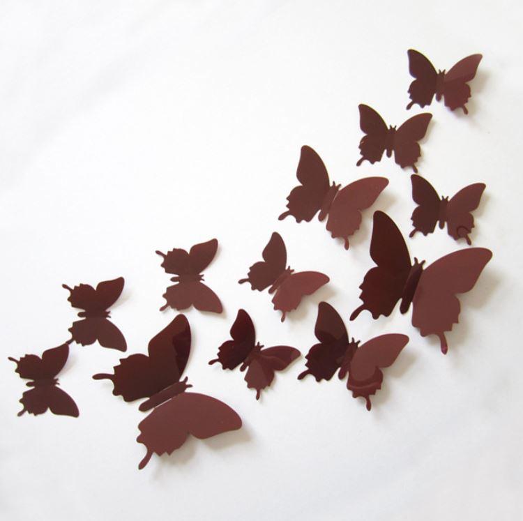 Muursticker losse 3d vlinders  (bruin)