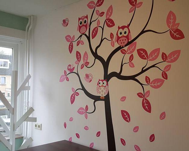 Muursticker meisjeskamer boom roze