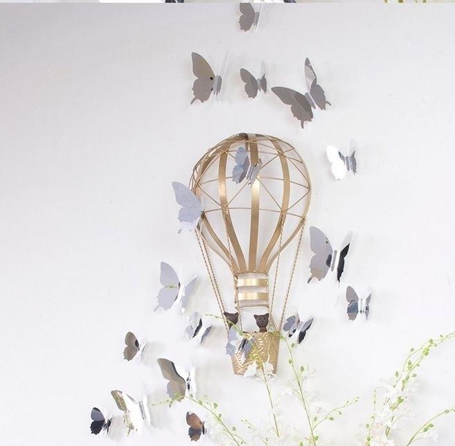 Muursticker losse 3d vlinders (mirror/spiegel/zilver)