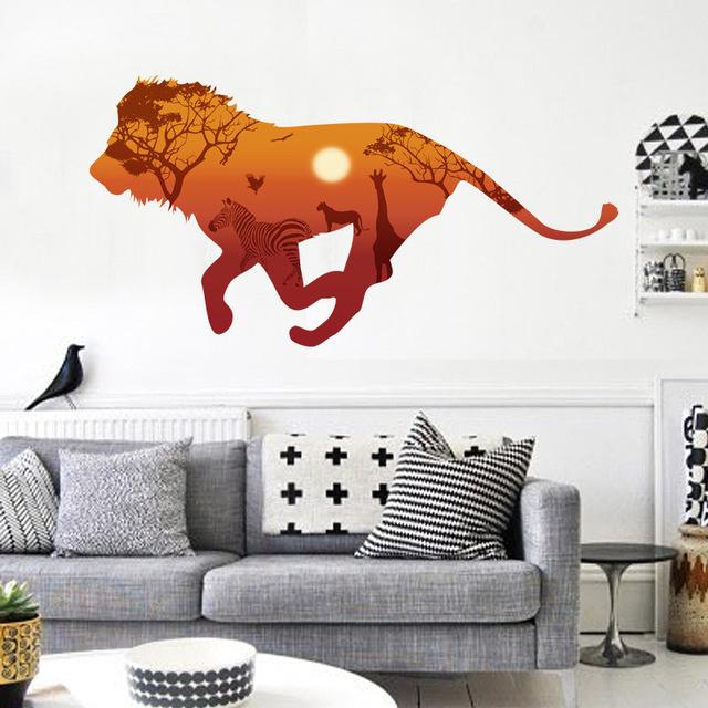 Muursticker leeuw Afrika kinderkamer
