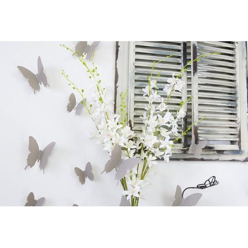 Muursticker losse 3d vlinders (taupe)