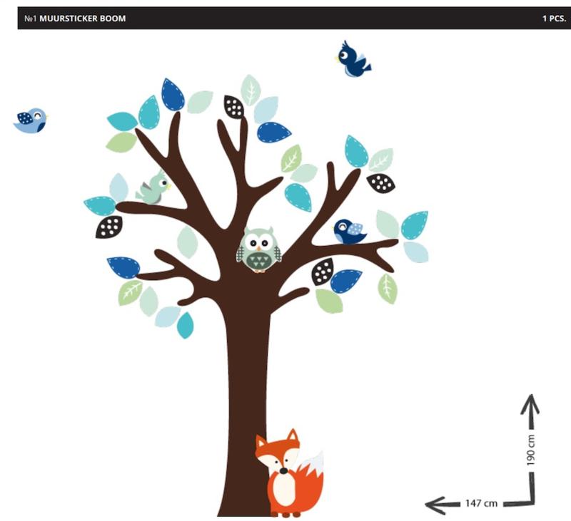 Muursticker boom op maat van Baaden