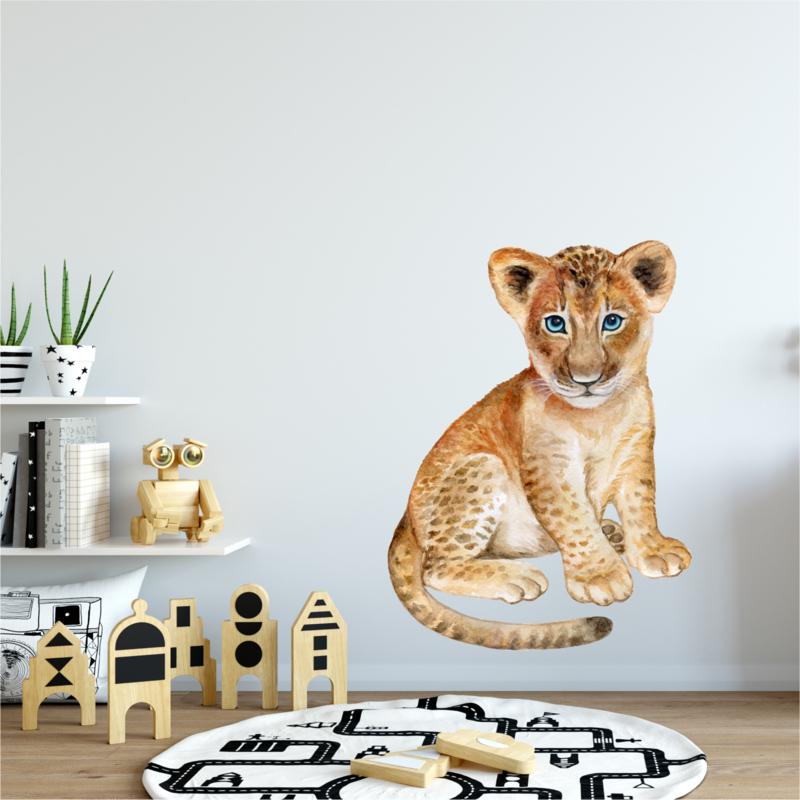Muursticker leeuw baby welpje babykamer - kinderkamer