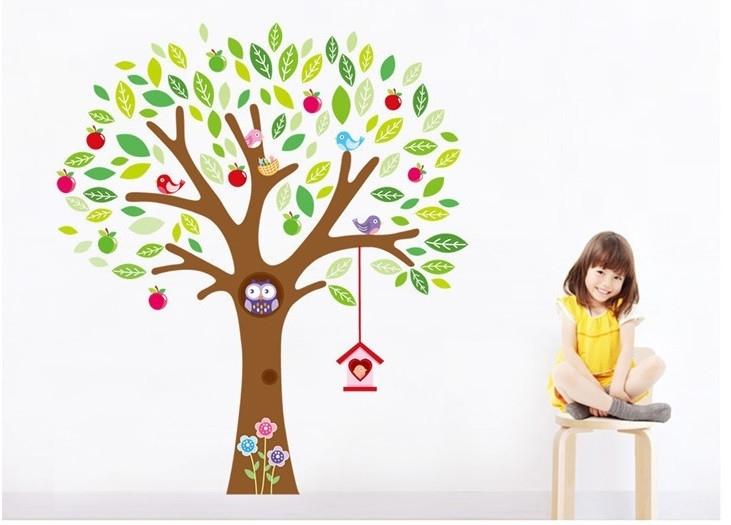 Muursticker appel boom met uilen kinderkamer