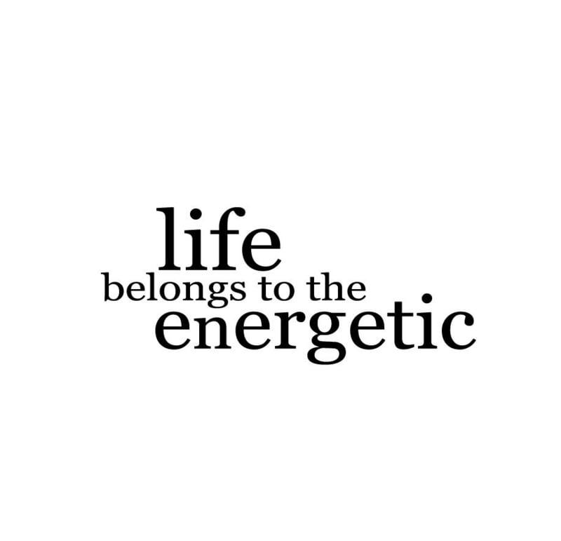 Life belongs to the energetic