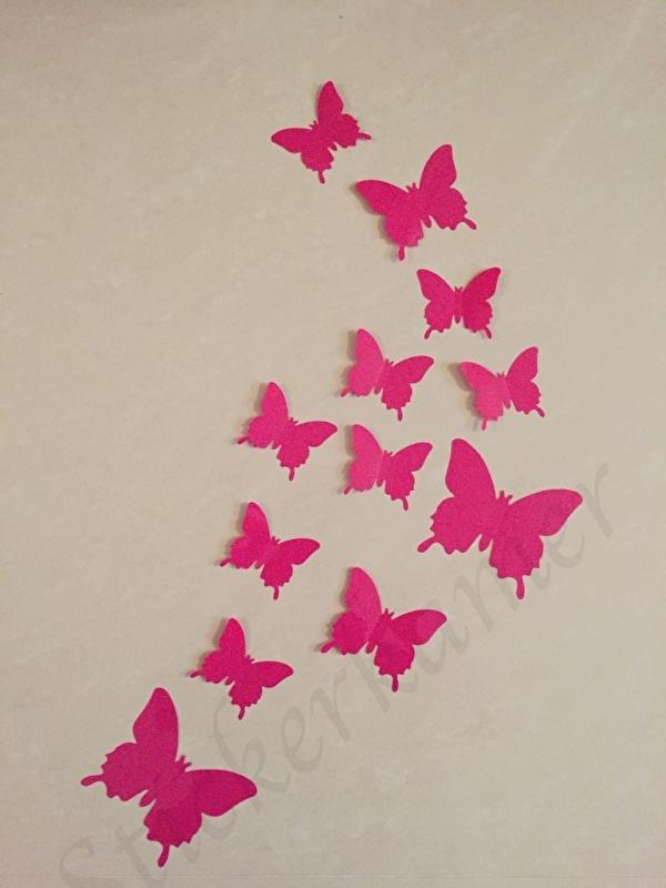 Muursticker losse 3d vlinders  (donker roze)
