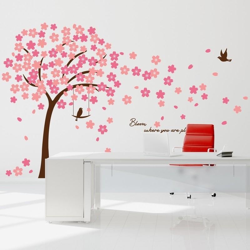 Muursticker mooie bloesem boom roze XL