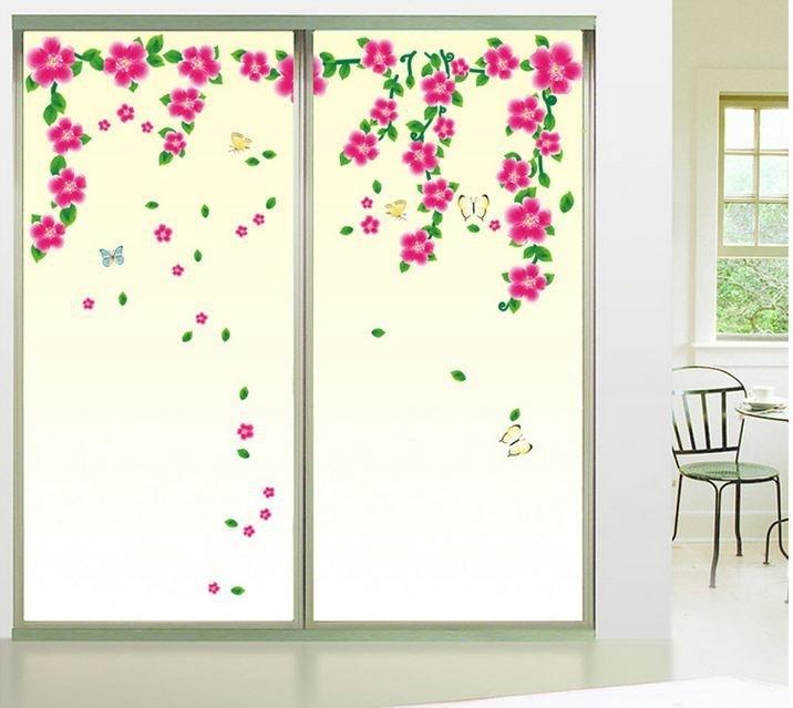 Muursticker roze bloemen sierlijk
