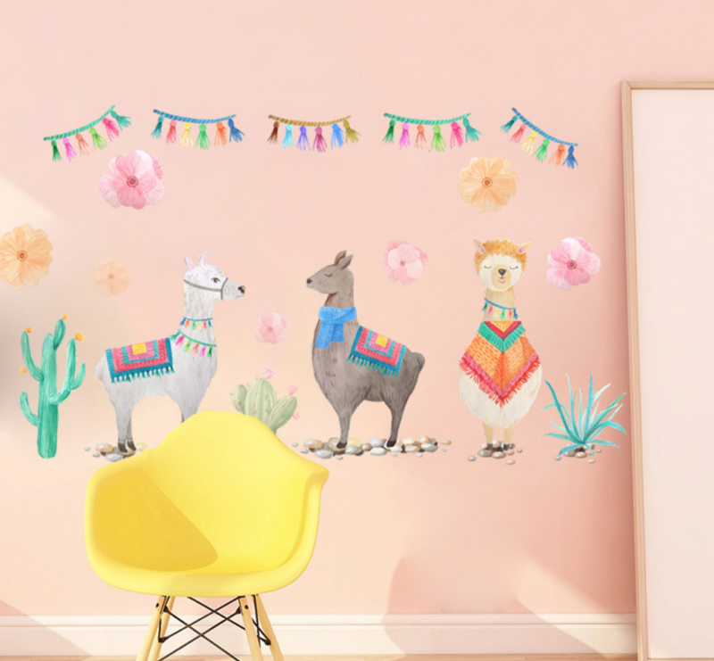 Muursticker cartoon alpaca / berglama kinderkamer muurdecoratie