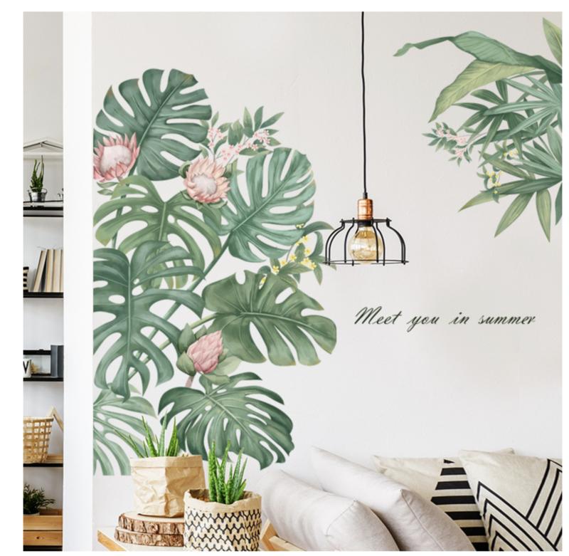 Muursticker jungle decoratieve palmbladen groen botanisch