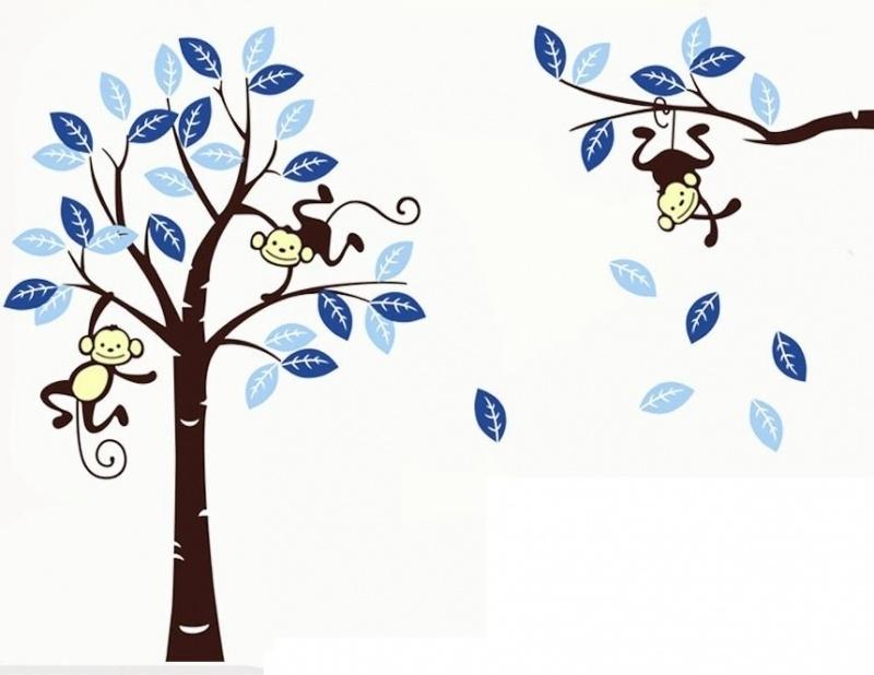 Muursticker Boom met aapjes blauw