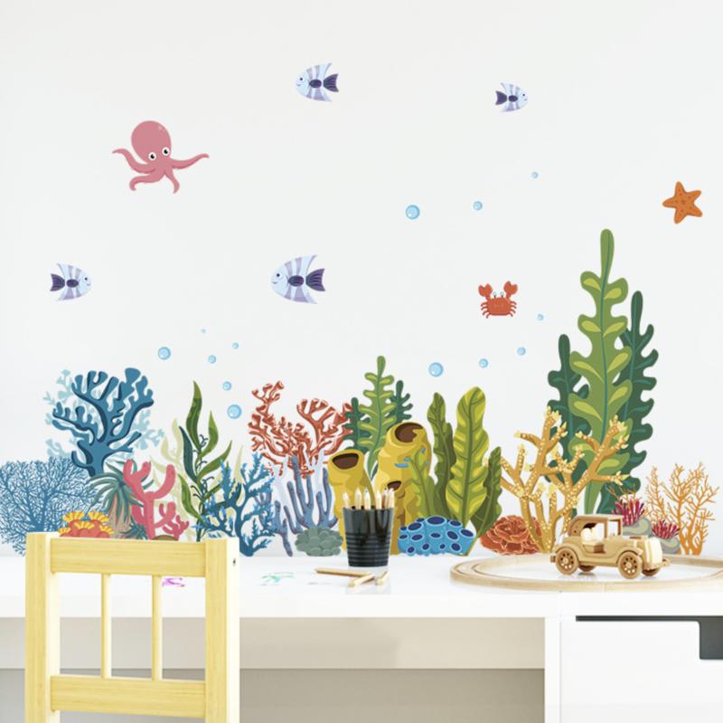 Muursticker koraal met zeevisjes decoratie
