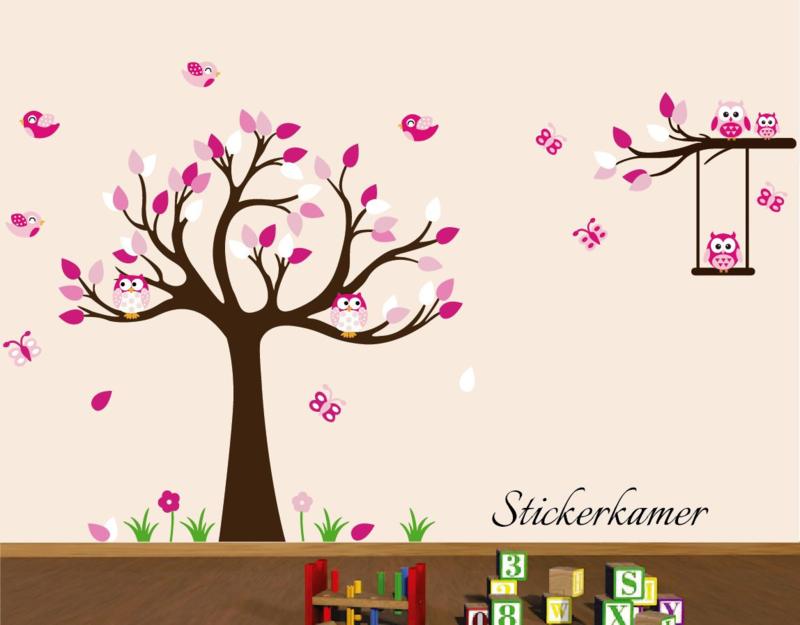 Muursticker boom en tak meisjeskamer roze
