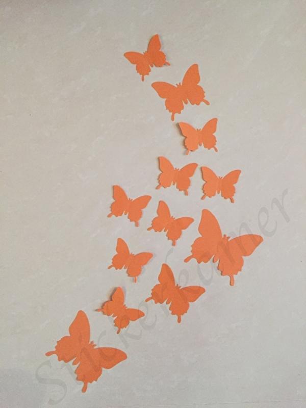 Muursticker losse 3d vlinders (oranje)
