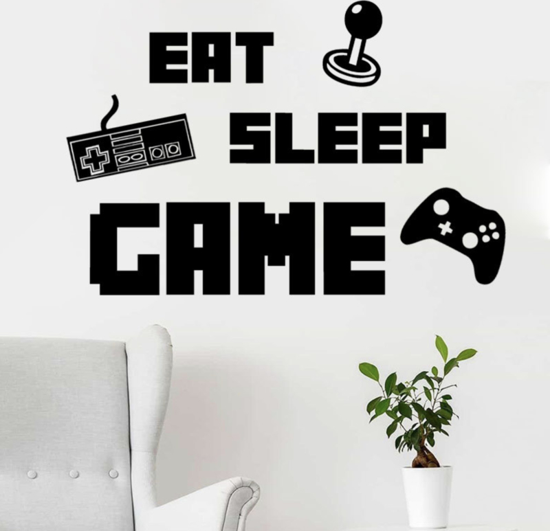 Muursticker gamer eat sleep game kinderkamer jongen