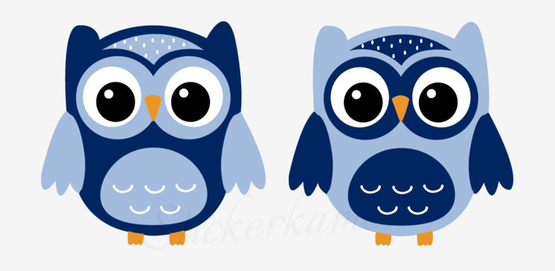 Little owl muursticker uilen donker blauw - licht blauw