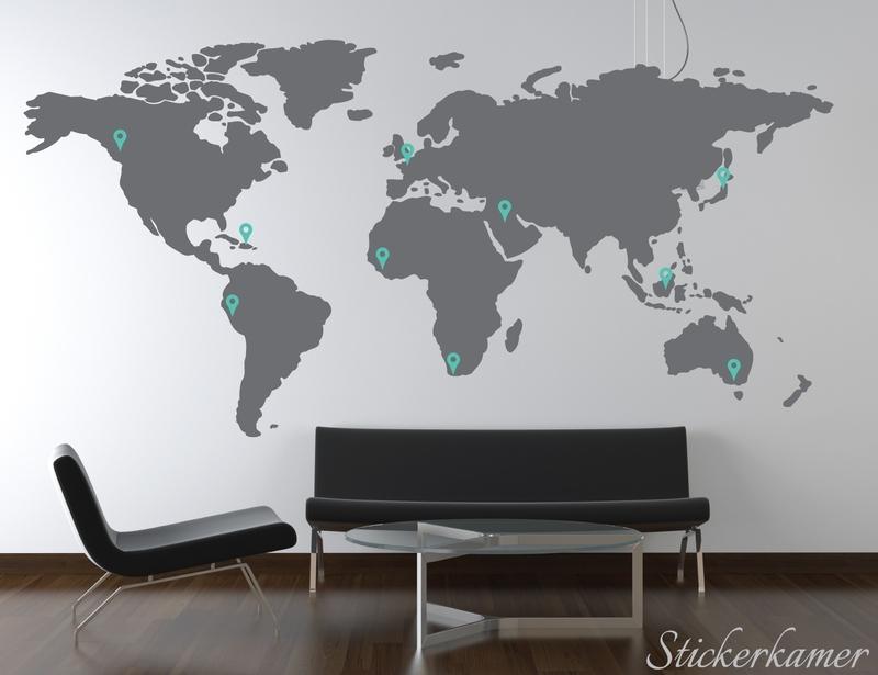 Wereldkaart met pin points