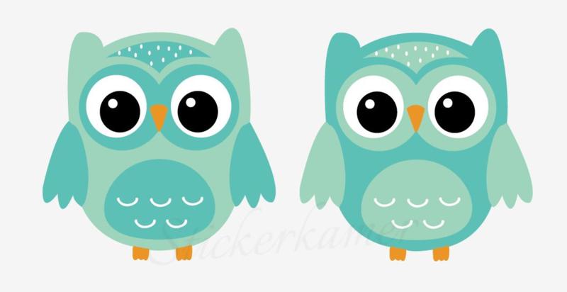 Little owl muursticker uilen turkoois - mint
