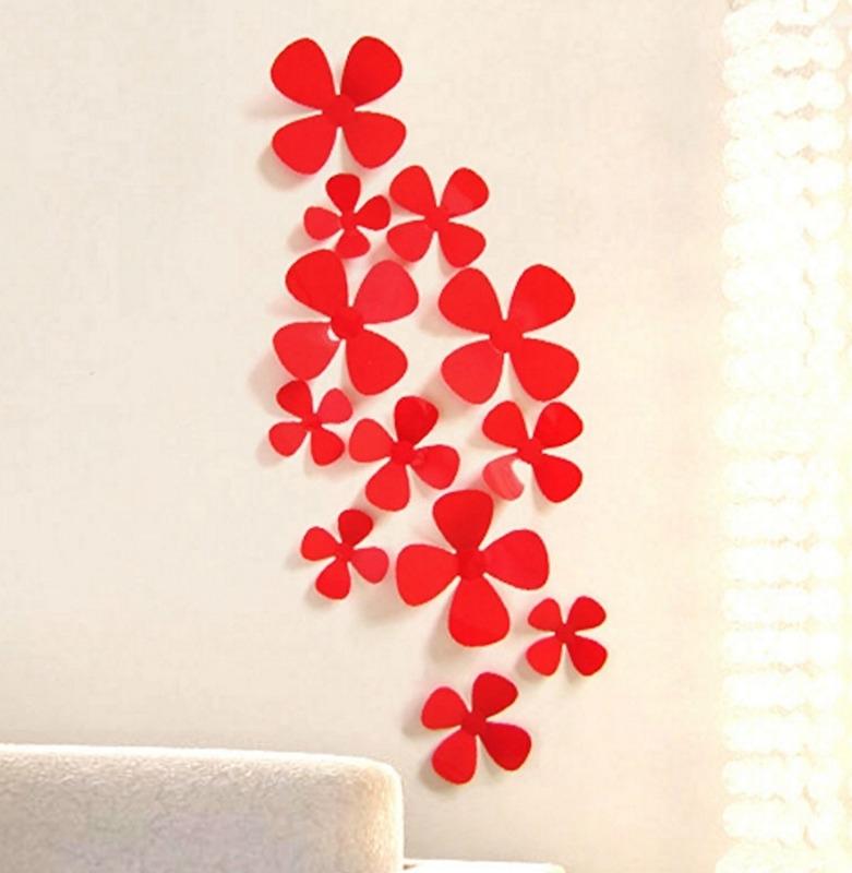 3D bloemen rood