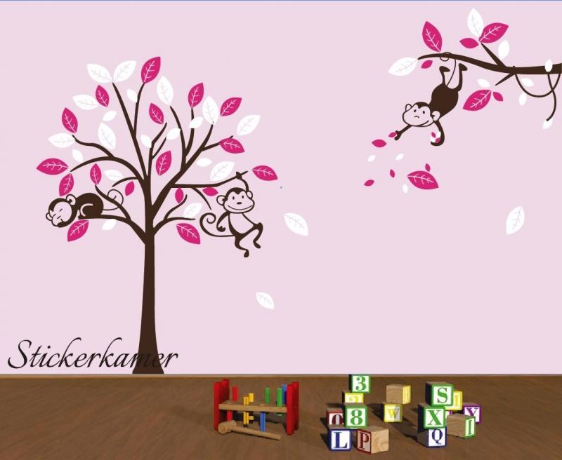 Muursticker boom en apen roze / wit