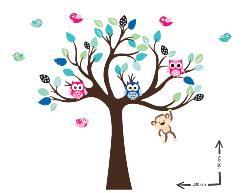 Muursticker boom op maat Veeke