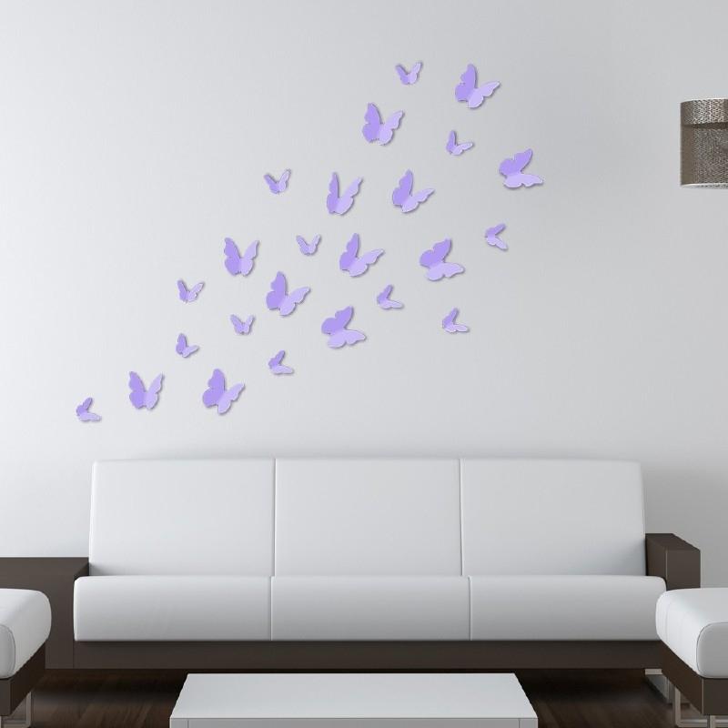 Muursticker losse 3d vlinders 24 stuks (lavendel lila / paars)