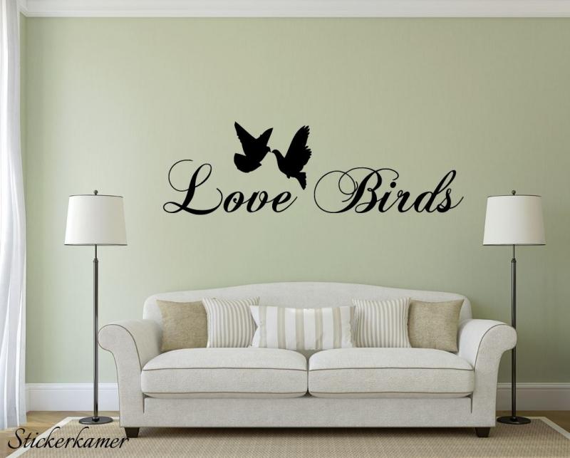 Love birds muursticker tekst
