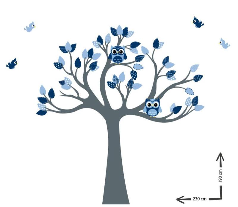 Muursticker Boom met uilen en vogels blauw kinderkamer