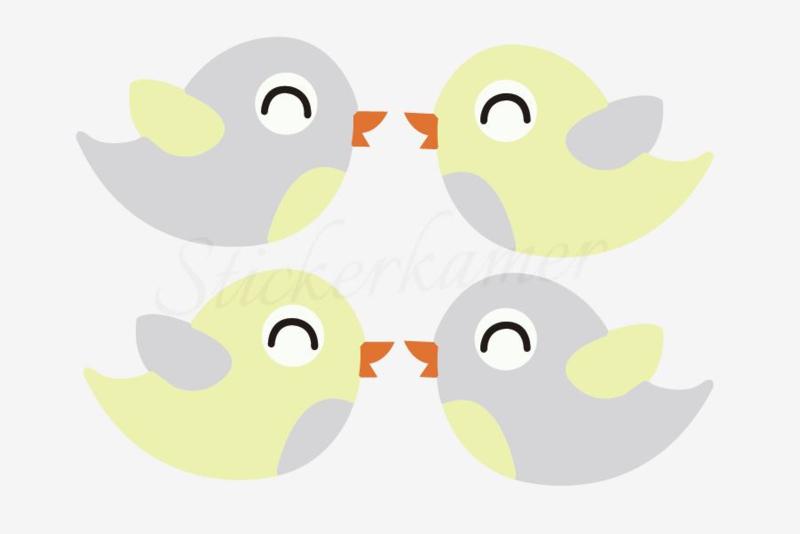 Little bird Grijs - Geel (4 stuks)