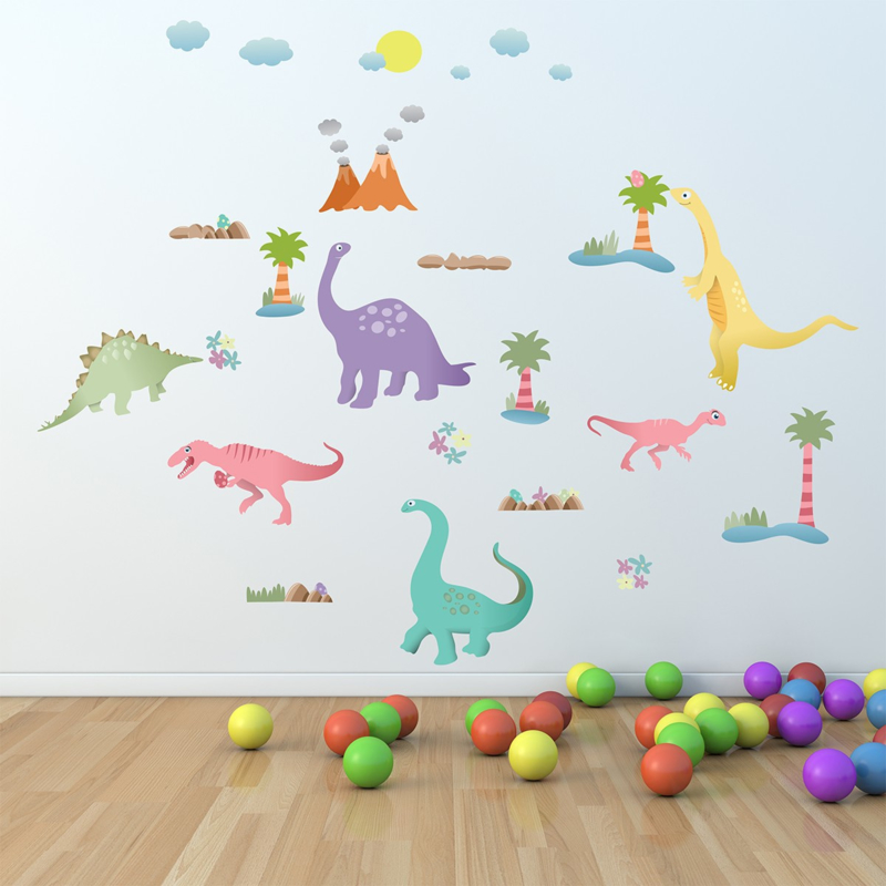 Muursticker dinosaurus mix kinderkamer