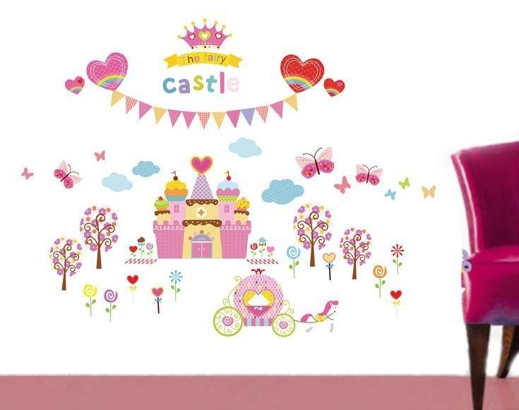Muursticker prinsessenkamer kasteel roze kinderkamer meisjes