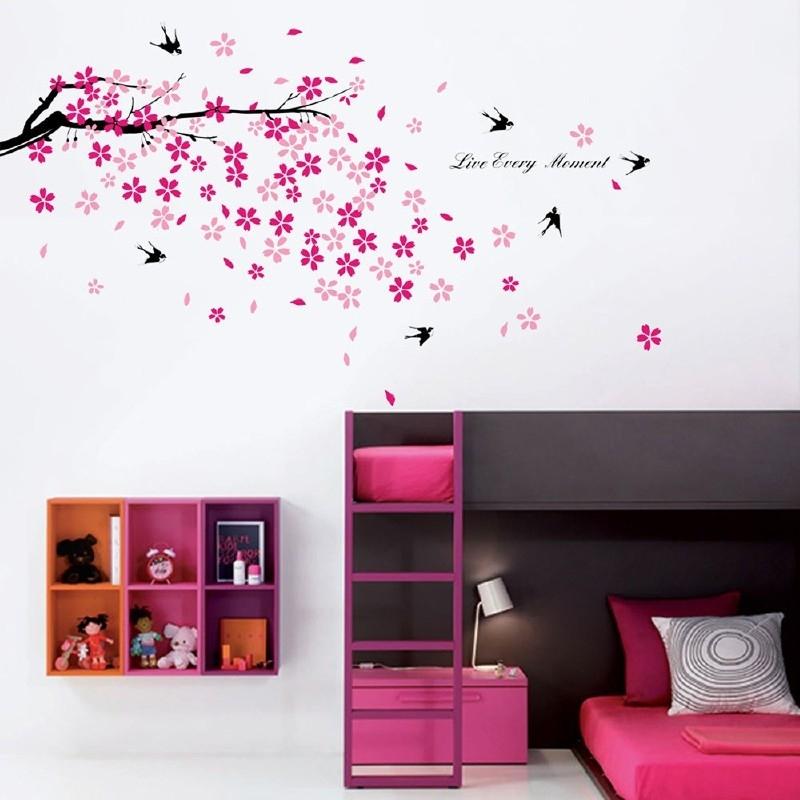 Muursticker roze bloesem tak met zwaluwen en quote