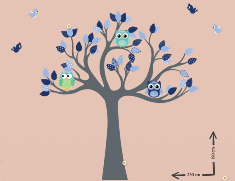 Muursticker boom kinderkamer uilen blauw