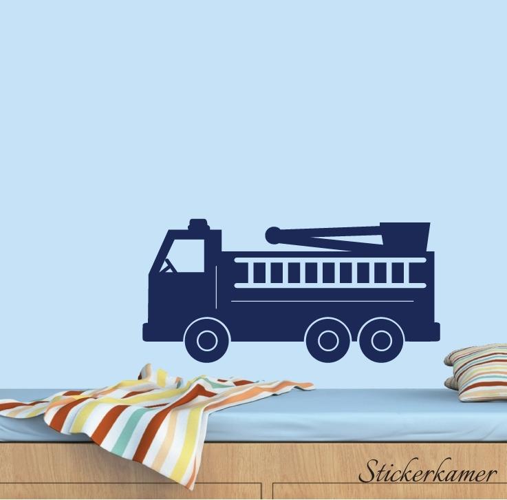 Muursticker brandweerauto kinderkamer jongen