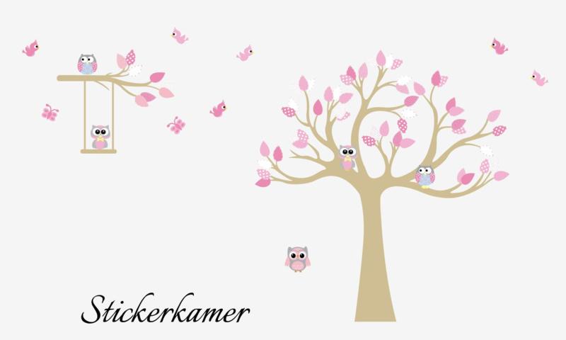 Muursticker cuddle boom roze thema Baars