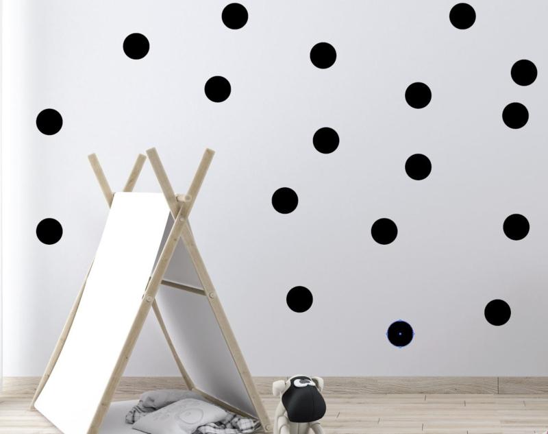 60 x Muursticker stippen cirkels print / patroon zwart