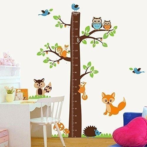Muursticker boom groeimeter - hoogtemeter bos dieren kinderkamer