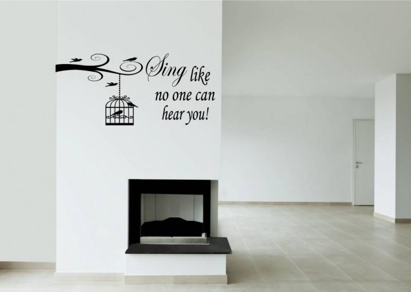 Tak met vogelkooi en vogels + quote (Sing like no one can hear you)