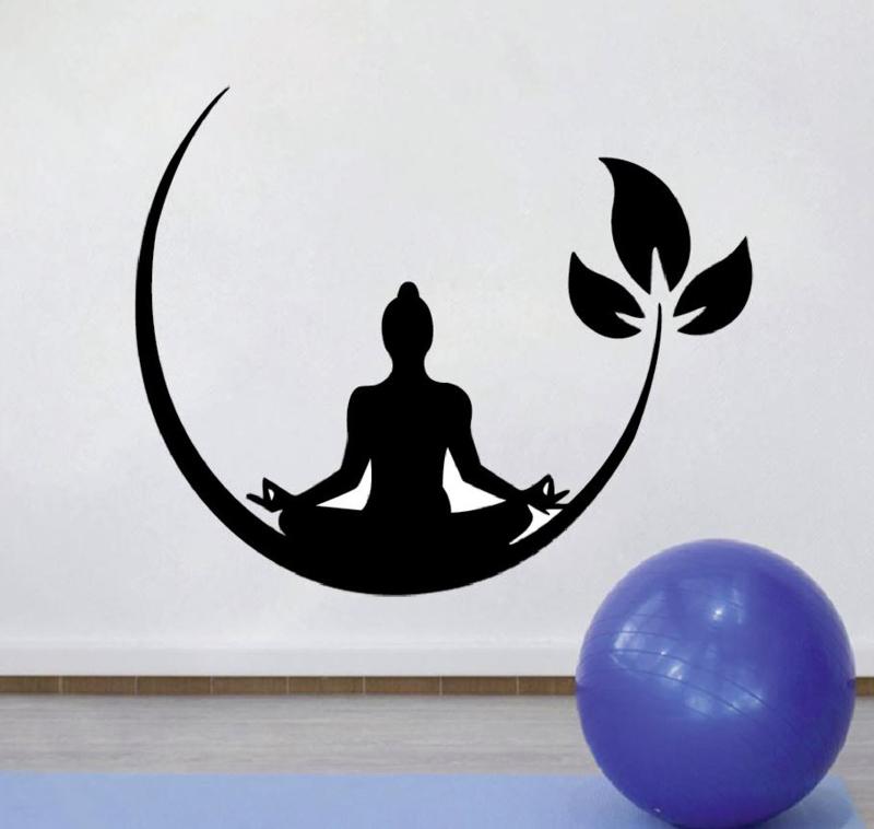 Muursticker yoga meditatie decoratie sticker bloem