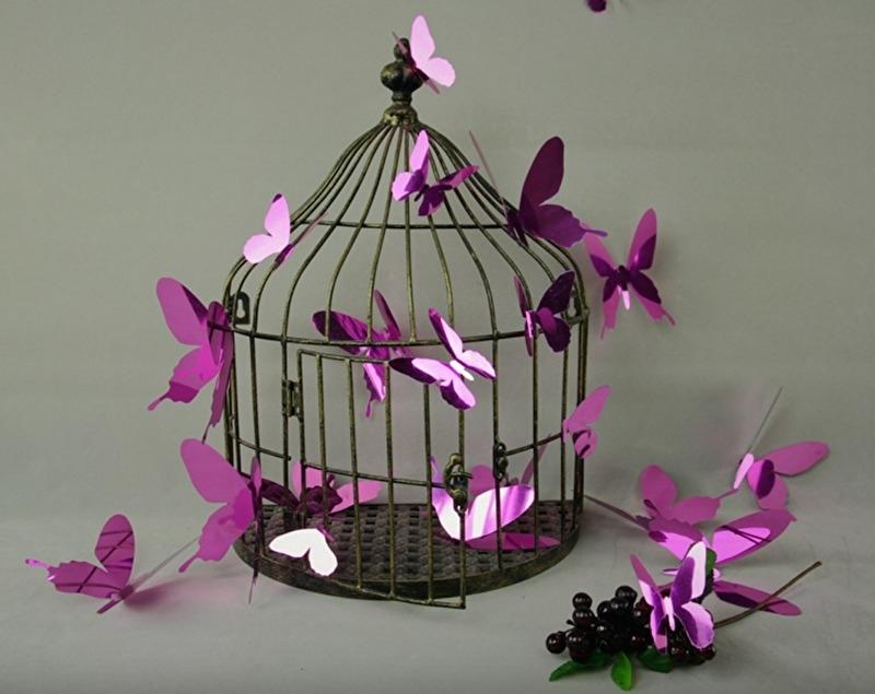 Muursticker losse 3d vlinders (roze  glans)