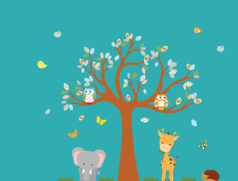 Muursticker boom met beesten