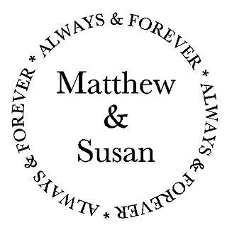 Naamsticker in een cirkel: always and forever