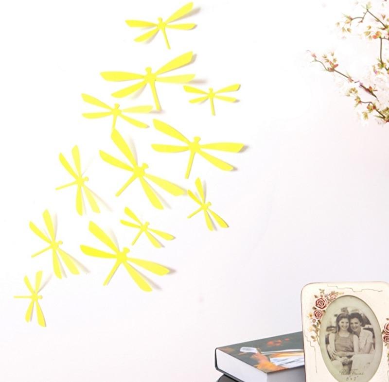 3D libellen geel